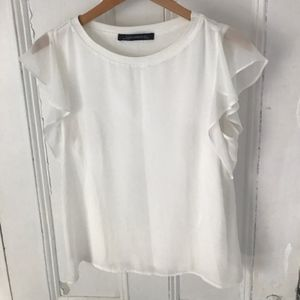 White Zara tee with flutter sleeves